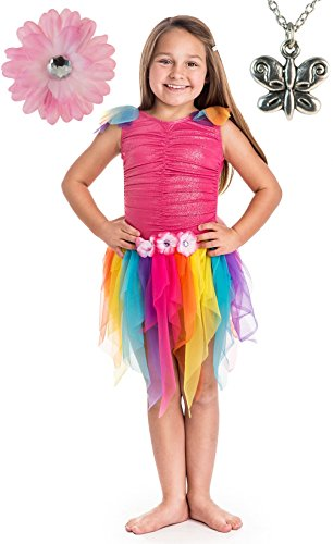 Pink Rainbow Fairy Princess Costume, Hair Bow and Wondercharms Necklace - Large (5-7)