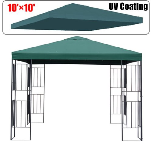 Outsunny 10' x 10' Gazebo Replacement Canopy Top Cover - Single Tier - Green