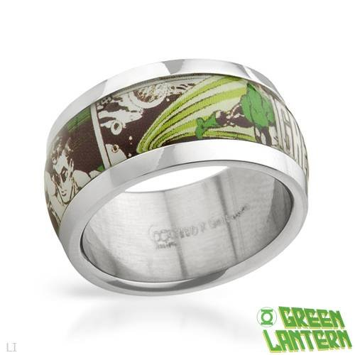 GREEN LANTERN Attractive Ring Beautifully Designed in Multicolor Plastic and Stainless steel. Total item weight 7.6g (Size 11)