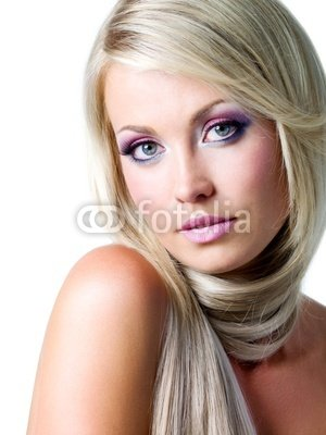 Wallmonkeys Peel and Stick Wall Decals - Blond Woman with Long Straight Hairs and Bright Pink Make-up - 24