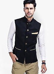 Veera Paridhaan Men's Jute Cotton Nehru Jacket (VP0070640_Black_40)