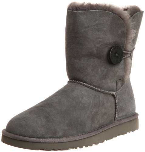 UGG Australia Women's Bailey Button Sheepskin Boots Grey Size 8