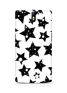 AMEZ designer printed 3d premium high quality back case cover for Oneplus One (black and white stars)