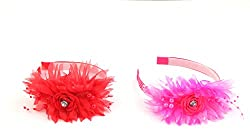 Sanjog Flower Red and Pink Hair Band for Kids/Girls-Pack Of 2