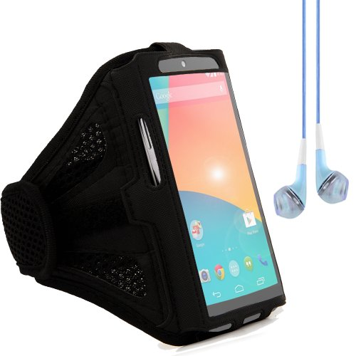 Running Sports Gym Adjustable Armband Pouch Case For Google Nexus / Nexus 5 / Lg L9 (Black) + Blue Vangoddy Headphones With Mic