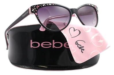com: Bebe Sunglasses BB 7024 BLACK 001/BLACK ROSE BB7024: Bebe: Shoes