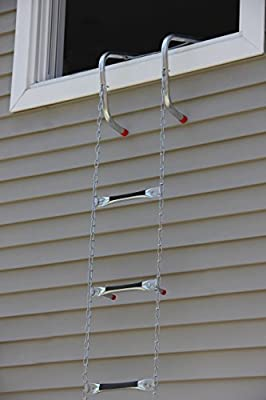 "Saf-Escape - 3 Story 25 foot Portable Fire Escape Ladder 14"" Thick Wall - Tangle Free Steel Chain - model # 1625"