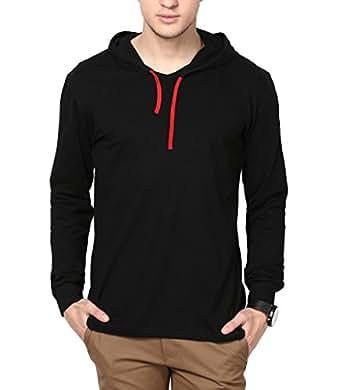 Inkovy Men's Cotton Full Sleeve Hooded T-Shirt (INKOVY-HOOD-FULL-BLACK-L_Large_Black)