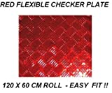 Checker plate 600mm x 1200 mm red aluminium look ch