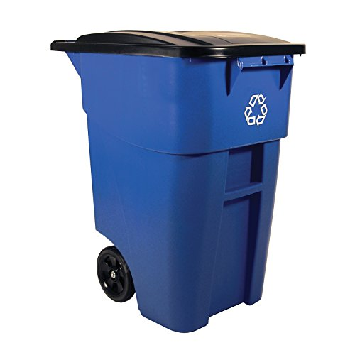 Rubbermaid Commercial FG9W2773BLUE BRUTE Heavy-Duty Rollout Waste/Utility Container, 50-gallon with Recycling Logo, Blue (Can Recycling compare prices)