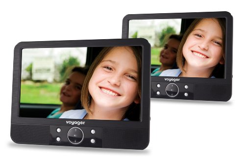 Tragbarer DVD-Player (22,8 cm (9 Zoll) LCD-Display) mit 2 Bildschirmen inkl. Auto-Holmhalterung und Zubehör schwarz