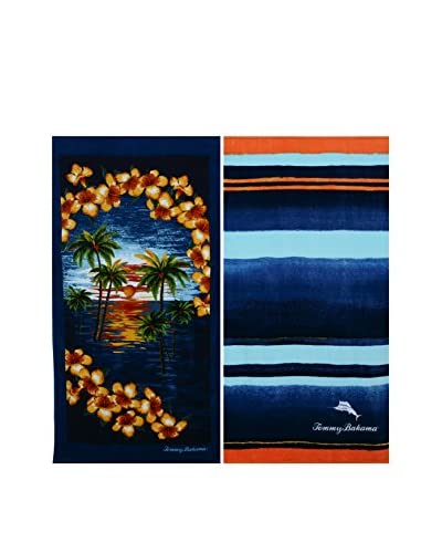 Tommy Bahama Stripe & Island Vignette Beach Towel Set, Multi