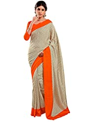 Vastrang Women's Art Silk Saree (VS1760, White & Orange)