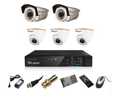 Tentronix T-8ACH-5-D3B2A10 8-Channel AHD Dvr, 3(1MP 36IR) Dome, 2(1MP 36IR) Bullet Cameras (With Accessories)