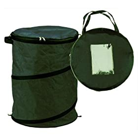 Extra-Rugged Large Collapsible Leaf Bag w/Zippered Lid Green