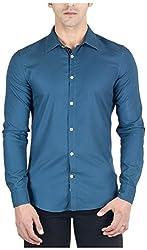 Suchos Men's Cotton Shirt (SS14, Blue, L)