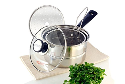 Kitchen Art, Stainless Steel Pasta Cooker Steamer Multipots with Lid, Mini