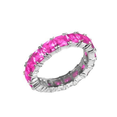 Studio 925 Fuchsia Princess Diamond CZ Sterling Silver Eternity Ring, 8