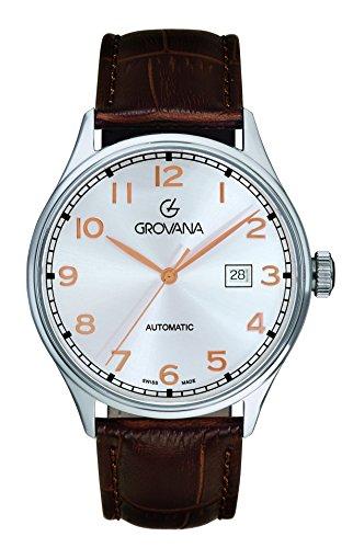 Grovana-Orologio da uomo con Display analogico e cinturino in pelle marrone 1190,2528