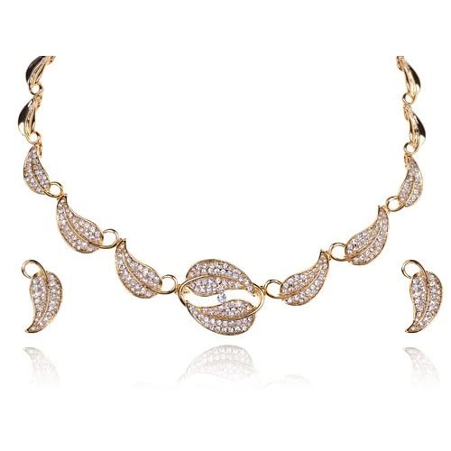Gold Tone Chain Leaves Autumn Swarovski Crystal Rhinestone Necklace Earring Set