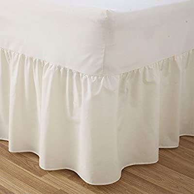 Plain Dyed 50:50 Poly Cotton Bed Base Valance Sheet Cream: 4ft Small Double Size Bed