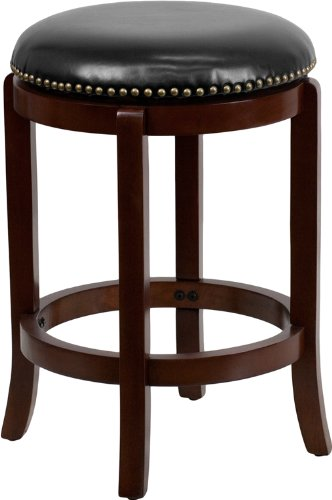 24 39 39 backless cherry wood counter height stool with black leather swivel seat furniture benches - Counter height vanity chair ...