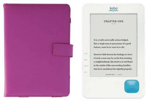 Kobo eReader Pink Leather Case Folio - Real Leather (Made for official Kobo eReader)