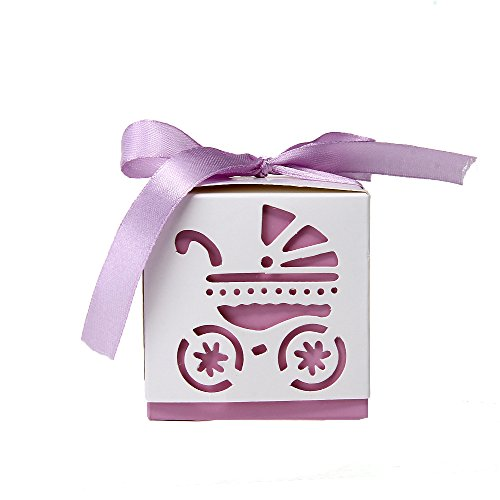 12Pcs Wedding Favor Gift Ribbon Candy Boxes Cut Out Baby Carriage Pram Purple front-549402