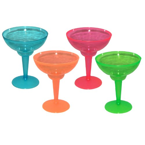 Party Essentials Hard Plastic Two Piece 12-Ounce Margarita Glasses, Assorted Neon, 12 Count - 1