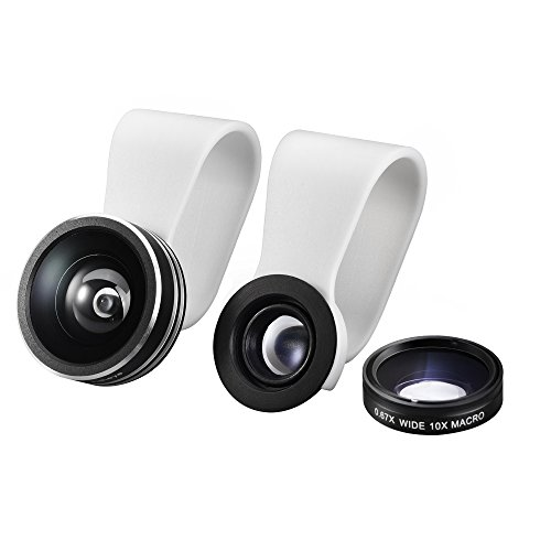 Mpow 3 in 1 Clip-On 180 Degree Supreme Fisheye Lens, 0.67X Wide Angle Lens, 10X Macro Lens kit for iPhone 6 / 6s/6Plus ,iOS &Android Smartphones (Fisheye Lens Clip On Iphone 6 compare prices)