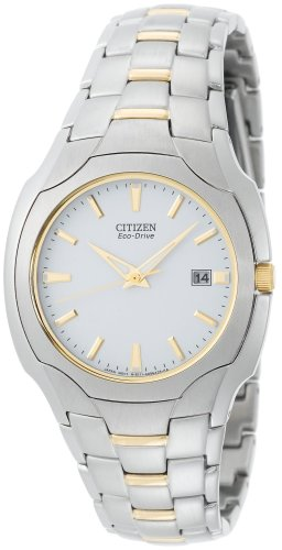 Citizen Men's Eco-Drive Two-Tone Stainless Steel White Dial Watch #BM6014-54A