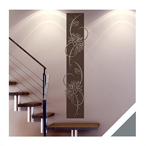 wandtattoo medina florales wandbanner inkl swarovski ban14 grau 180 x 42 cm mit farb u. Black Bedroom Furniture Sets. Home Design Ideas