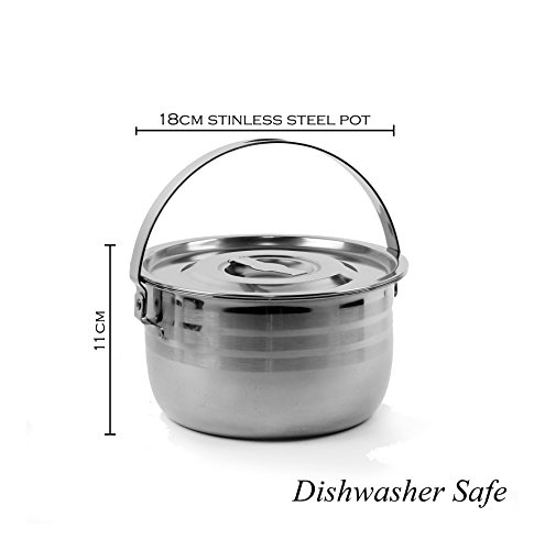 Wealers Stainless Steel Outdoor Pots / Cookware, Select-A-Size, Pot Set is Great for Camping, Hunting, Hiking, Backpacking, BBQ or a Picnic (Medium - 2.8L) (Stainless Steel Outdoor Cookware compare prices)