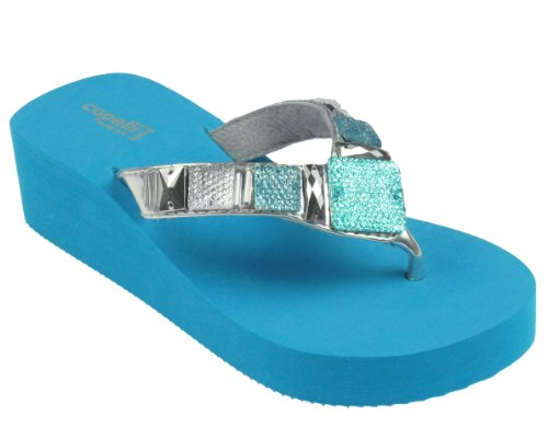 Capelli New York Girls Flip Flops With Gem And Bead Trim Turq Combo 1/2