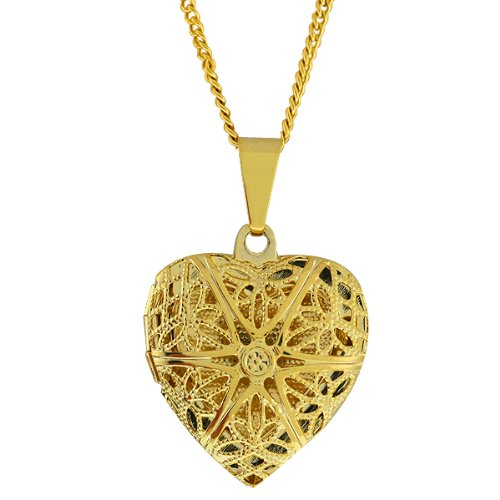 Stunning Gold Tone Filigree Heart Shaped Locket Pendant Necklace With 18