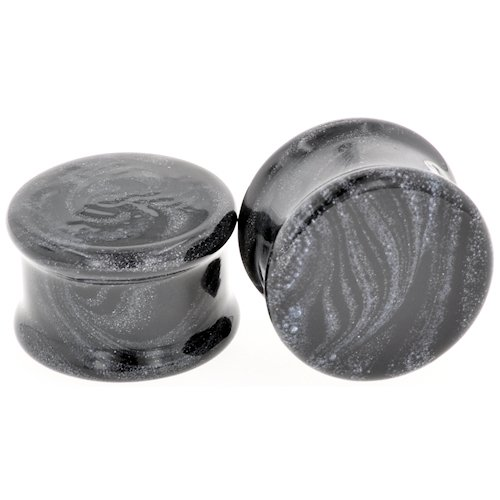 Pair of Glass Double Flared Black / Metallic Borostone Plugs: 9mm