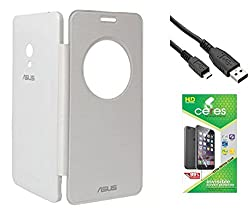 Ceres Circle View Flip Cover For Asus Zenfone 5 A501CG With Ceres HD Screen Guard & Usb Data Cable Cable (White)