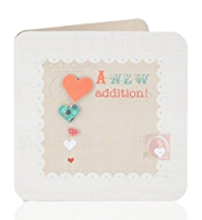 Vintage Style Hearts New Baby Greetings Card