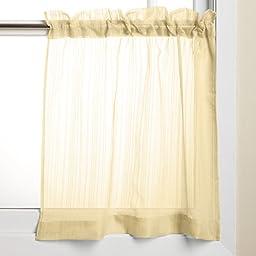 Lorraine Home Fashions Harmony Tier Pair, 56 x 24-Inch, Yellow