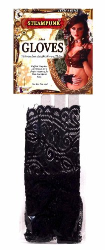 Steampunk Ruffl Lace Glove - Black