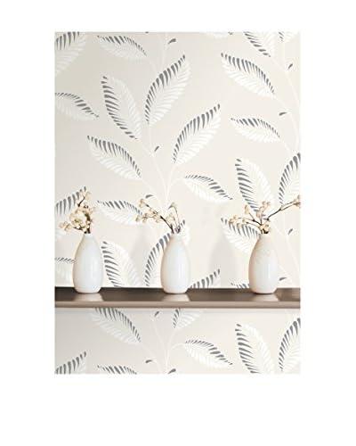Brewster Aubrey Modern Leaf Trail Strippable Wallpaper, Light Grey
