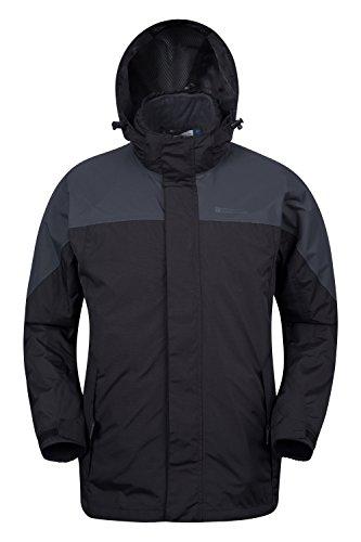 Mountain Warehouse Storm Herren 3 in 1 einstellbare wasserfeste jacke mantel Sport Multifunktionsjacke mit Kapuze und Fleece Innenjacke Alltwetterjacke Grau Large -