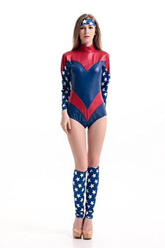 Kamat® Halloween Costume Adult Female Captain America Superman Hero Cosplay Clothing