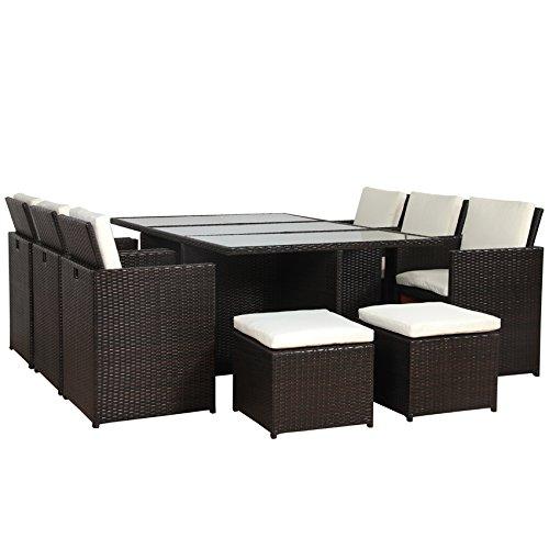 POLY RATTAN Lounge Gartenset BRAUN Sofa Garnitur Polyrattan ALU – kein Bausatz bestellen