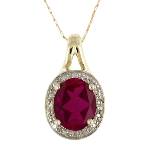 10k Yellow Gold Lab-Created Ruby and Diamond Accent Pendant, 18