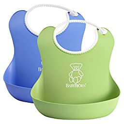 BabyBjorn Soft Bib 2 Pack - Blue/Green