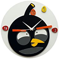 Panache Funky Bird Aluminium Wall Clock (Black)
