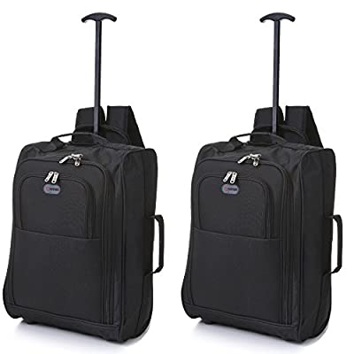 Set of 2 50cm 5 Cities Cabin Hand Luggage Lightweight Trolley Bags, 33L Black 4020