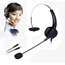 buy Dual 3.5Mm Audio Plug Call Center Monaural Headset Noise Cancelling Corded Headphone With Mic For Phone Desk Telephone(Black)