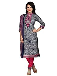 Shonaya Blue & Gray Colour Poly Cotton Printed Unstitched Dress Material